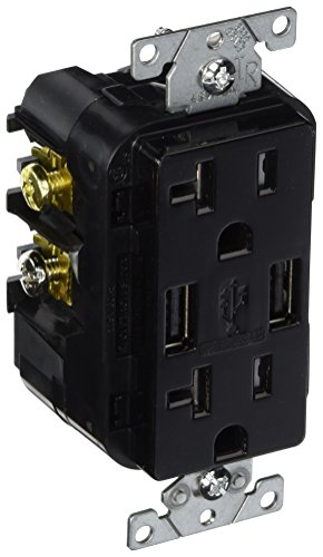 Leviton T5832-E 20-Amp USB Charger/Tamper Resistant Duplex Receptacle, ブラック 「汎用品」(海外取寄せ品)