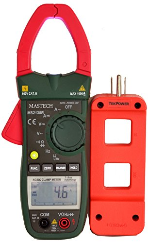 Mastech MS2138R with Tekpower ライン Splitter M920, オート Ranging True RMS AC/DC Voltage and AC/DC Current Clamp メーター With Tekpower Wire Splitter and Super ブライト LED Flashlight on the Top 「汎用品」(海外取寄せ品)