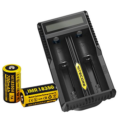 Two Nitecore IMR 18350 Rechargeable Batteries with Nitecore UM20 Charger [For Nitecore EC11] 「汎用品」(海外取寄せ品)