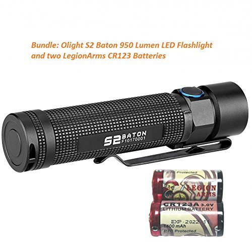 Olight S2 バトン 950 ルーメン VARIABLE-OUTPUT SIDE-SWITCH LED FLASHLIGHT S1 upgrade with LegionArms CR123 Batteries 「汎用品」(海外取寄せ品)