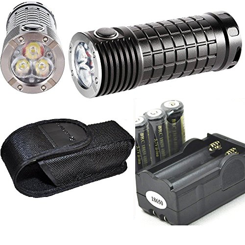Olight SR ミニ Intimidator 2800 Lumen Cree XM-L2 LED diffused Flashlight, Three 18650 Rechargeable LegionArms Batteries and Charger キット 「汎用品」(海外取寄せ品)