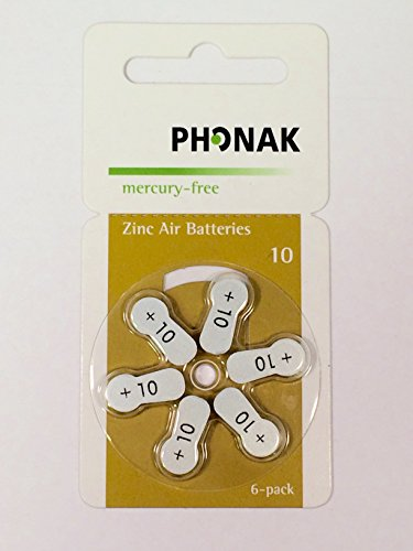 Phonak Mercury Free サイズ 10 Zinc エアー Hearing Aid Batteries (60 batteries) 「汎用品」(海外取寄せ品)