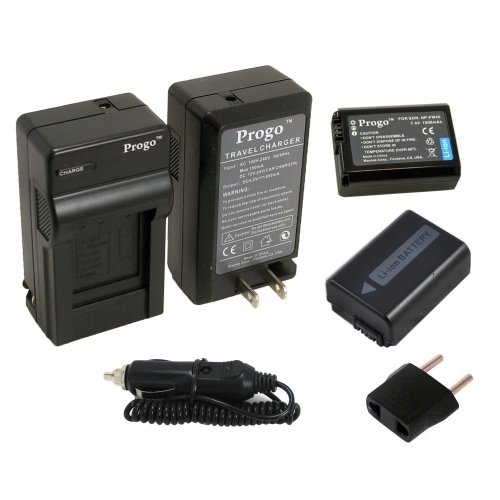 Progo 2 パック NP-FW50 Li-イオン Rechargeable Batteries and ポケット トラベル AC/DC ウォール Charger with Car Adapter & US to ヨーロピアン plug for ソニー NP-FW50 and ソニー Alpha NEX-F3, NEX-6, NEX-5, NEX-5N, NEX-5R, NEX-5T, 「汎用品」(海外取寄せ品)