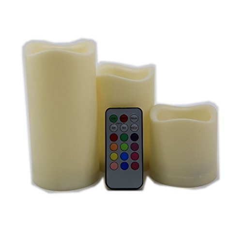 3 pc Flameless Remote Control 12 カラー-changing Led Candle Light セット 7.5/12/15CM 「汎用品」(海外取寄せ品)