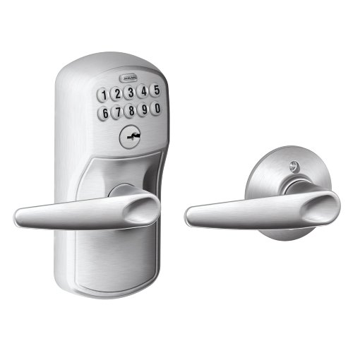 Schlage FE575 PLY 626 JAZ プリマス Keypad Entry with オート-ロック and ジャズ Levers, ブラッシュ クローム 「汎用品」(海外取寄せ品)
