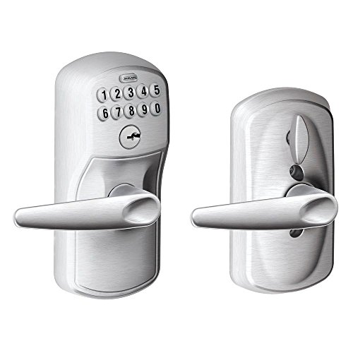 Schlage FE595 PLY 626 JAZ プリマス Keypad Entry with フレックス-ロック and ジャズ スタイル Levers, ブラッシュ クローム 「汎用品」(海外取寄せ品)
