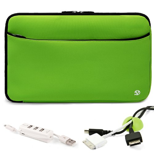 Mobile Carry On Travelling Convinient ソフト Neoprene スリーブ ケース For ソニー VAIO T Series 13.3-インチ Touchscreen Ultrabook + グリーン ケーブル Organizer + ホワイト 3 Port USB HUB with Micro USB Charger 「汎用品」(海外取寄せ品)