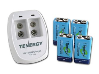 Tenergy TN141 2 Bay 9V スマート Charger with 4 pcs 9V 250mah NiMH Rechargeable Batteries 「汎用品」(海外取寄せ品)
