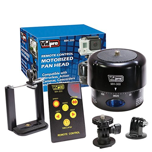 Vidpro MH-300 360-Degree タイム-Lapse Photography Motorized パン Head with Remote Control, ミニ Tilt Head, Smartphone Holder and ゴープロ GoPro Adapter 「汎用品」(海外取寄せ品)