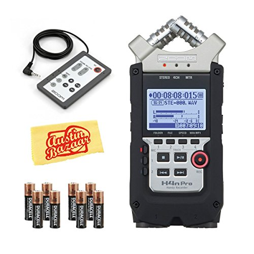 Zoom H4n プロ Handy Recorder バンドル with Zoom RC4 Remote Control, Batteries, and オースティン Bazaar Polishing クロス 「汎用品」(海外取寄せ品)