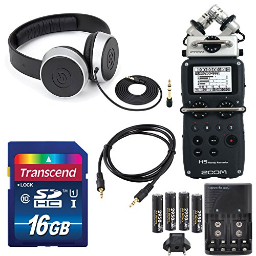 Zoom H5 Four-トラック Portable Recorder with インターチェンジ Microphone System Including Samson Studio Headphones and Deluxe アクセサリー バンドル 「汎用品」(海外取寄せ品)