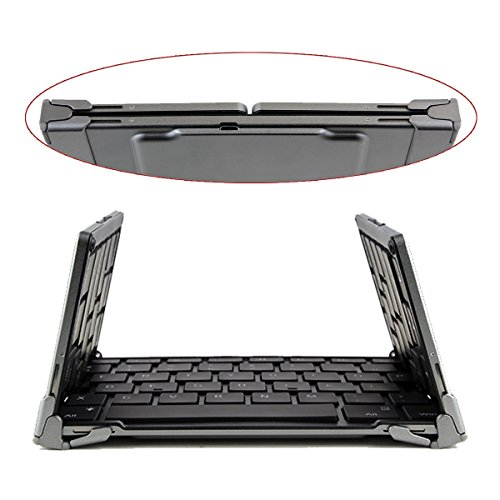 Portable Foldable ブルートゥース Keyboard Ultra-スリム ポケット Wireless Keyboard for iOS アンドロイド Android ウィンドウ PC Tablet Smartphone Built in Rechargeable Li-polymer バッテリー - グレー 「汎用品」(海外取寄せ品)