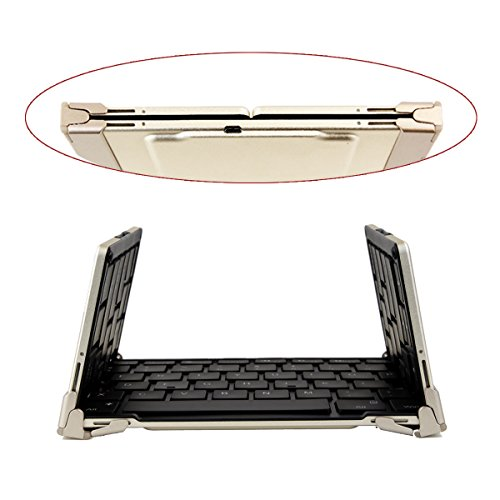 Foldable ブルートゥース Keyboard, Ultra スリム Portable Wireless Keyboard with ビルトイン Rechargeable バッテリー ポケット-size, Ergonomic デザイン for IOS/アンドロイド Android/Windows, Aluminum Alloy - ゴールド 「汎用品」(海外取寄せ品)
