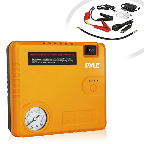 Pyle Roadside Emergency 4-in-1 Tool Assistance オート キット | ジャンプ スターター with ケーブル, エアー Pressure Tire Pump, Power Bank, Flashlight, (PBPK52) 「汎用品」(海外取寄せ品)