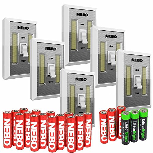 6 パック Nebo Flipit 215 lumen COB LED room/closet/shed light 6523 with 3 X EdisonBright AAA Alkaline batteries バンドル 「汎用品」(海外取寄せ品)
