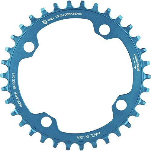 Wolf Tooth コンポーネント ドロップ ストップ Chainring ブルー, 34T/104 BCD (海外取寄せ品)