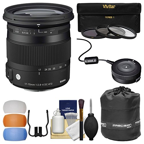 Sigma 17-70mm f/2.8-4 Contemporary DC Macro OS HSM Zoom レンズ (for Canon EOS Cameras) with USB Dock + 3 UV/CPL/ND8 フィルタ + ポーチ + Diffusers + キット (海外取寄せ品)