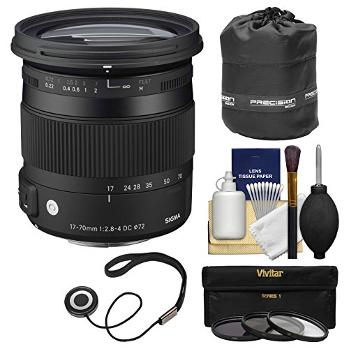 Sigma 17-70mm f/2.8-4 Contemporary DC Macro OS HSM Zoom レンズ for Canon EOS DSLR Cameras with ポーチ + 3 UV/CPL/ND8 フィルタ + キット (海外取寄せ品)