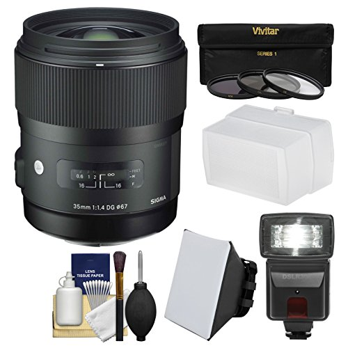 Sigma 35mm f/1.4 Art DG HSM レンズ for Canon EOS DSLR Cameras with フラッシュ + ソフト ボックス & Diffuser + 3 UV/CPL/ND8 フィルタ + キット (海外取寄せ品)