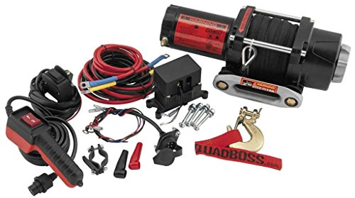 New QuadBoss 2500 lb Winch with Dyneema Rope & Model Specific Mounting Bracket - 2000-2002 Polaris Magnum 325 4x4 ATV (海外取寄せ品)