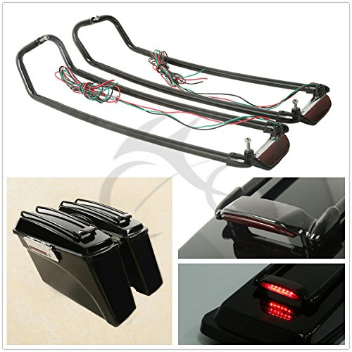 TCMT ブラック Saddlebag Lid Rack Top レール Guard with Light For Harley ツーリング ロード Glide ロード キング Ultra ストリート Glide Electra Glide 1994-2013 (海外取寄せ品)