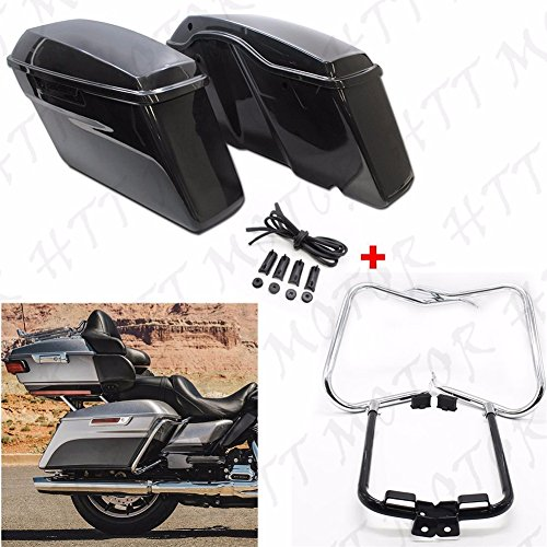 Unpainted Saddlebags w/ クローム Bracket Guard バー For 2014-2016 Harley ツーリング (海外取寄せ品)