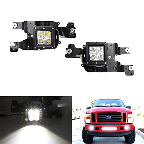 iJDMTOY Complete 40W ハイ Power LED Fog ライト with Mounting Bracket, Wiring Harness, On/オフ Switch For 2008-2010 Ford F-250 F-350 F-450 Super Duty (海外取寄せ品)