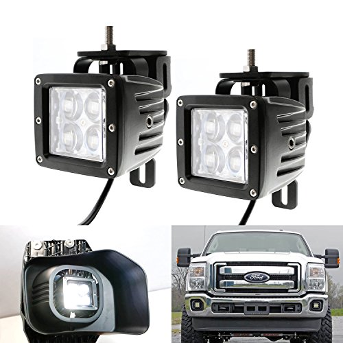 iJDMTOY 40W ハイ Power CREE 4D オプティック Projector Dually LED Pod ライト w/ メタル Foglamp Mount Bracket Holders For 1999-2016 Ford F250 F350 F450 Super Duty & 2000-2005 Ford エクスカーション (海外取寄せ品)