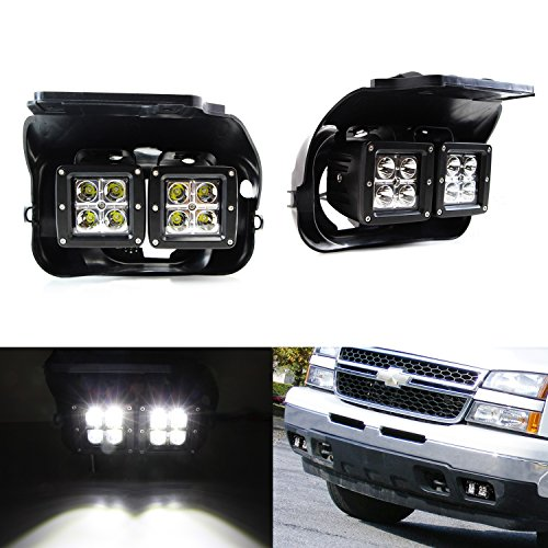 iJDMTOY ハイ Power CREE デュアル LED Fog Light キット w/ Bumper Mounting Brackets & Wiring Adapters For 2002-2006 Chevrolet Avalanche, 2003-2007 Silverado 1500 2500 3500 (海外取寄せ品)