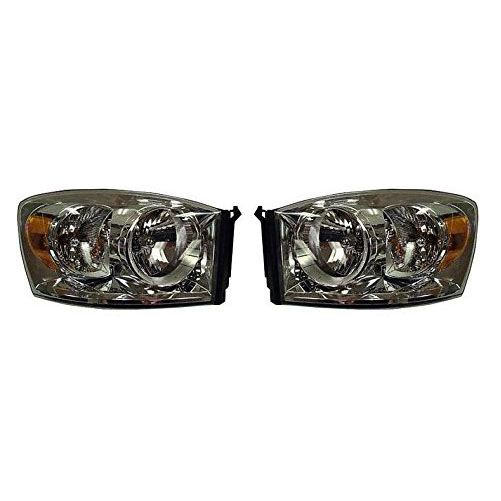 07 - 08 Dodge Ram 1500 Headlight ペア セット NEW 07 - 09 Dodge Ram 2500 and 3500 ドライバー and Passenger (海外取寄せ品)