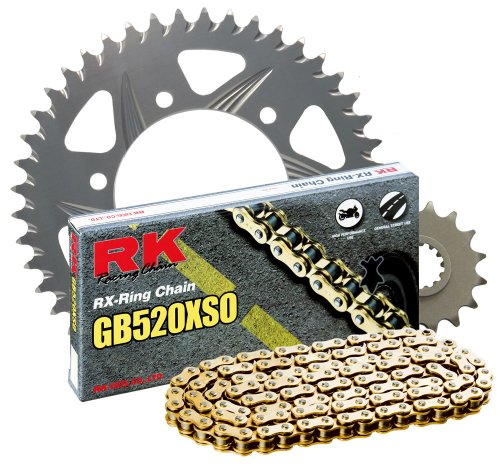 RK レーシング チェーン 2077-968RG シルバー Aluminum Rear Sprocket and GB520XSO チェーン 520 レース Conversion キット (海外取寄せ品)