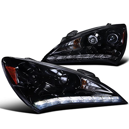 Spec-D Tuning 2LHP-GENS210G-V2-TM Hyundai ジェネシス Coupe Glossy ブラック Projector スモーク Headlights W/ R8 Led Drl (海外取寄せ品)