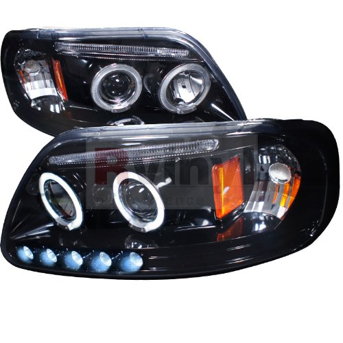 Ford F-150 1997 1998 1999 2000 2001 2002 2003 Halo Projector Headlights - スモーク (海外取寄せ品)