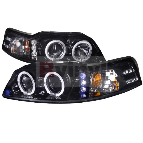 Spec-D Tuning Ford Mustang 1999 2000 2001 2002 2003 2004 LED Halo Projector Headlights - ブラック スモーク (海外取寄せ品)