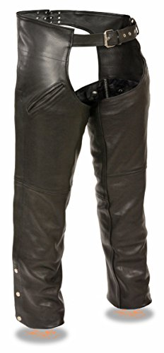 Milwaukee Slash ポケット レザー Chaps with リムーバブル Thermal Liner (Black, 5X-Large) (海外取寄せ品)