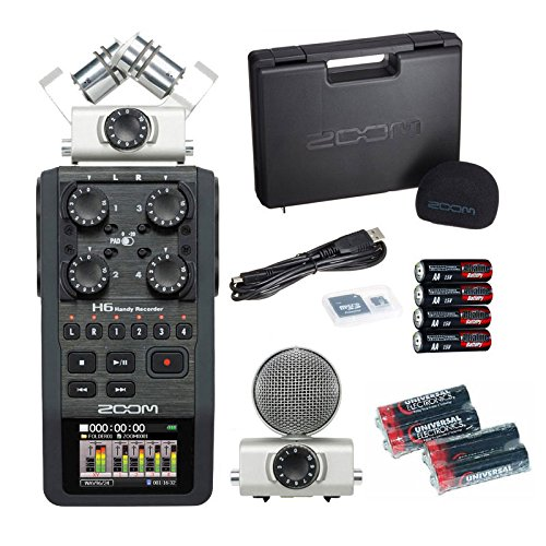 Zoom H6 Handy Recorder with Free 4 ユニバーサル エレクトロニック AA Batteries 「汎用品」(海外取寄せ品)