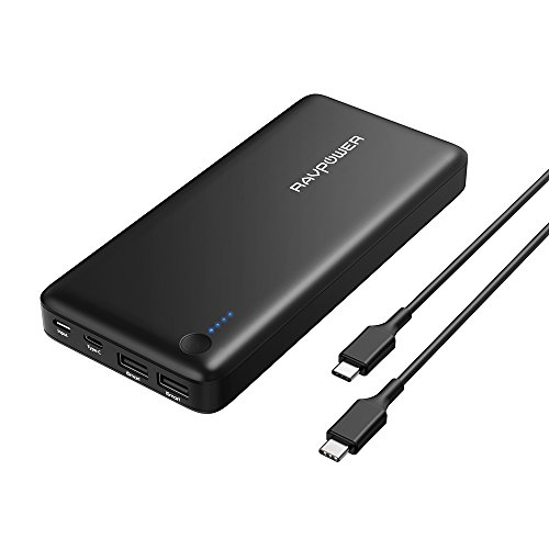 PD USB Type C Portable Charger RAVPower 26800mAh Power Bank (Faster Recharged in 4.5 Hours with USB-C Input; 30W USB C Output; USB C ケーブル インクルード, デュアル iSmart 2.0 USB Ports) For Phones, Macbook 12