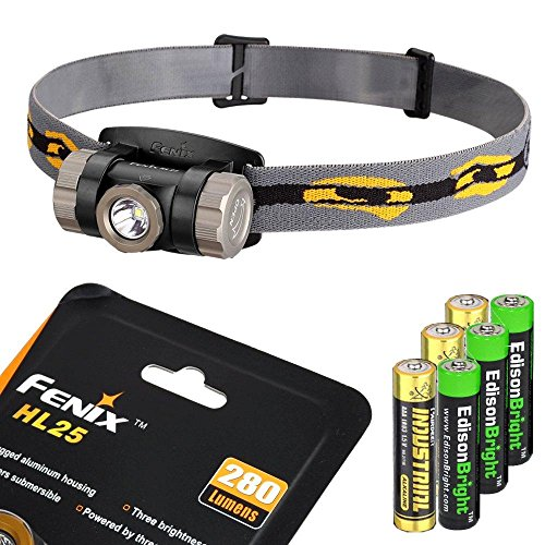 Fenix HL25 280 Lumen light weight CREE XP-G2 R5 LED Headlamp (Cadet グレー color) with 3 X EdisonBright AAA alkaline batteries バンドル 「汎用品」(海外取寄せ品)