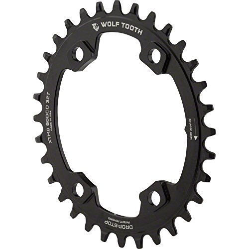 Wolf Tooth コンポーネント ドロップ-ストップ Elliptical Chainring: 32T x 96 Asymmetrical BCD, For Shimano XT M8000 Cranks, ブラック (海外取寄せ品)