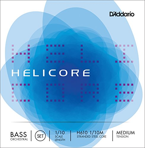D'Addario Helicore Orchestral Bass ストリング セット, 1/10 Scale, Medium Tension (海外取寄せ品)