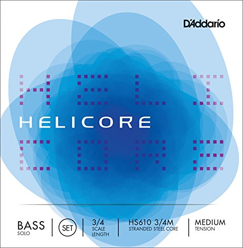 D'Addario Helicore ソロ Bass ストリング セット, 3/4 Scale, Medium Tension (海外取寄せ品)
