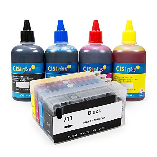 CISinks Refillable Ink Cartridge キット with Refill ボトル セット for HP 711 Designjet T120 T520 - HP711 (海外取寄せ品)