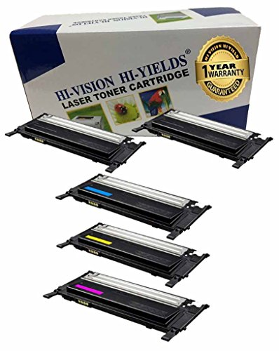 HI-VISIONR Compatible Toner Cartridge リプレイスメント for サムスン CLT-K406S CLT-C406S CLT-Y406S CLT-M406S (2 ブラック, 1 シアン, 1 イエロー, 1 Magenta, 5-Pack) works with CLP-365W, CLX-3305FW, CLX-3305W (海外取寄せ品)