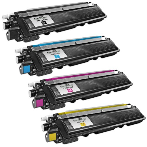 Speedy Inks - Compatible with Brother Compatible TN-210 セット of 4 Laser Toner Cartridges: 1 each of ブラック TN210BK, シアン TN210C, Magenta TN210M, イエロー TN210Y (海外取寄せ品)