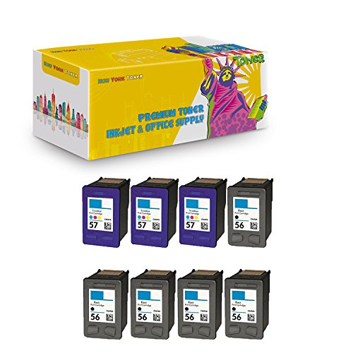 New ヨーク TonerTM New Compatible 8 パック HP C6656 (HP 56) HP C6657 (HP 57) ハイ Yield Inkjet For HP : 6110 . -- 5 ブラック 3 カラー (海外取寄せ品)