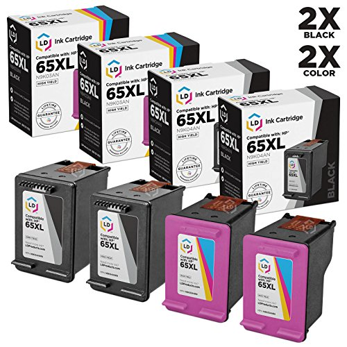 LD c Remanufactured HP 65XL セット of 4 ハイ Yield Ink Cartridges (2 ブラック & 2 Color) for DeskJet 3720, 3730, 3732, 3752, 3755 & 3758 (海外取寄せ品)