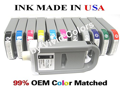 PFI-701 & 702 New compatible ink cartridges for Canon ipf8100/9100-セット of 12 with R,GN,C,M,Y,PC,PM,B,MBK,BK,PHGY,GY (海外取寄せ品)