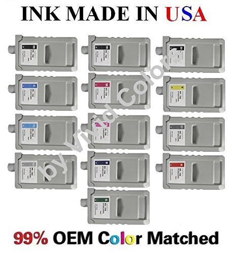 PFI-704 New compatible ink cartridges for Canon IPF8300s/8300- セット of 13 with MBK, BK(x2), C,M,Y,PC,PM,GY,PHGY,B,R,GN (海外取寄せ品)