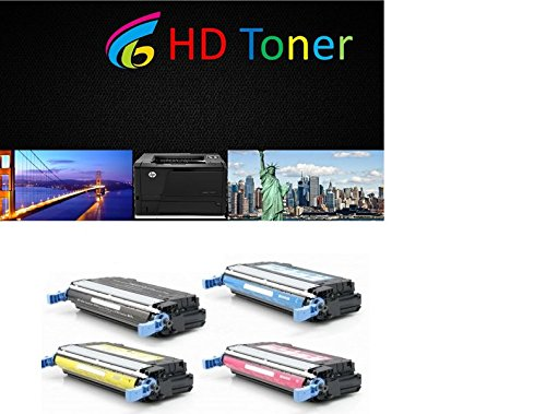 HDc Remanufactured Laser Toner Cartridges for HP カラー LaserJet 4700: 1 ブラック Q5950A, シアン Q5951A, Magenta Q5953A & イエロー Q5952A for the LaserJet 4700, 4700dn, 4700dtn, 4700n, 4700ph+ (海外取寄せ品)