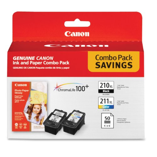 Canon PG-210 XL and CL-211 XL Ink and Glossy Photo ペーパー コンボ パック, Compatible to MP495,MP280,MP490,MP480,MP270,MP240, MX420,MX410,MX350,MX340 and MX330 (海外取寄せ品)
